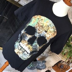 Kitty cat skull black t shirt